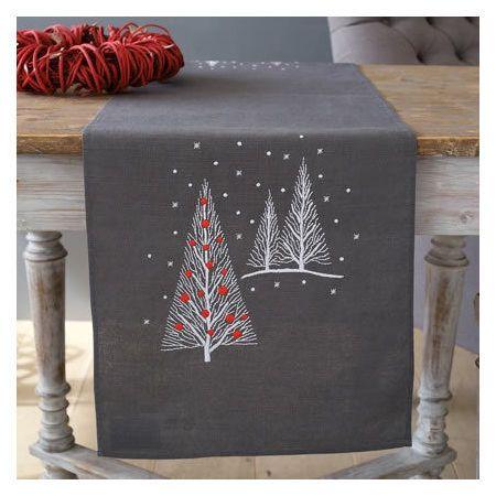 Christmas Trees Embroidery Table Runner Kit Christmas Table Runner Christmas Runner Holiday Table Runner