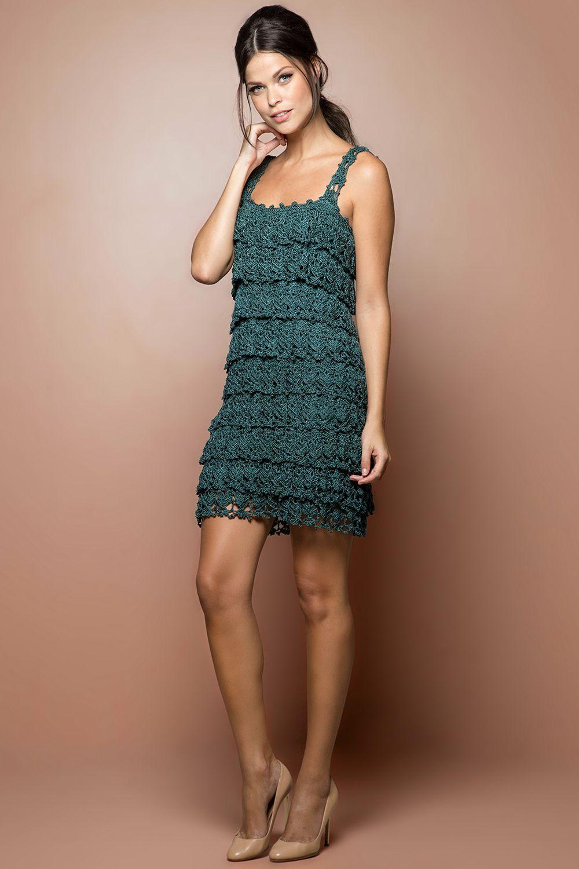 Vestido Crochet Boho Verde - Vanessa Montoro - vanessamontoro