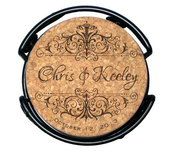 Wedding Cork Coaster: Wedding Cork Coaster Set Personalized Vintage By