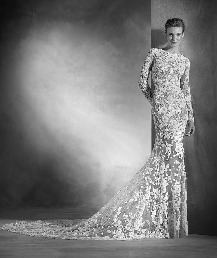 Narciso - Mermaid wedding dress with long sleeves and bateau neckline