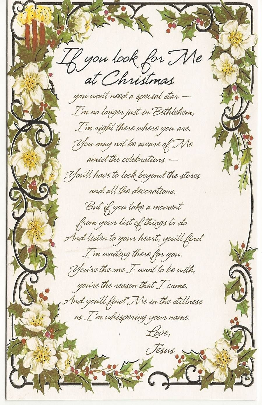 "A LETTER FROM JESUS: ""IF YOU LOOK FOR ME AT CHRISTMAS"" 