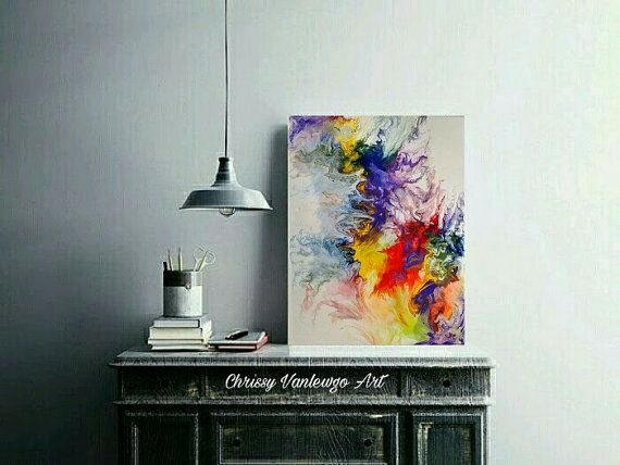 fluid painting Abstract painting poured by ChrissyVanlewgoArt