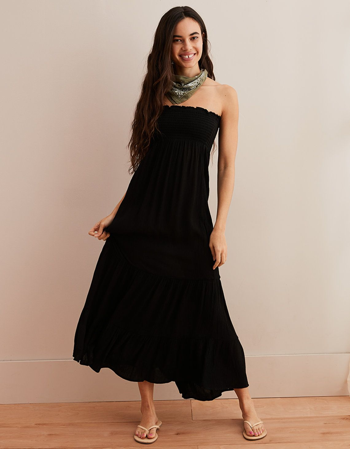 smocked maxi dress black