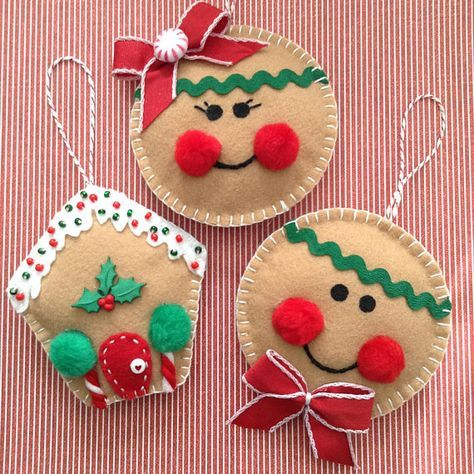 Gingerbread Christmas Ornaments / Felt Gingerbread Ornaments / Set