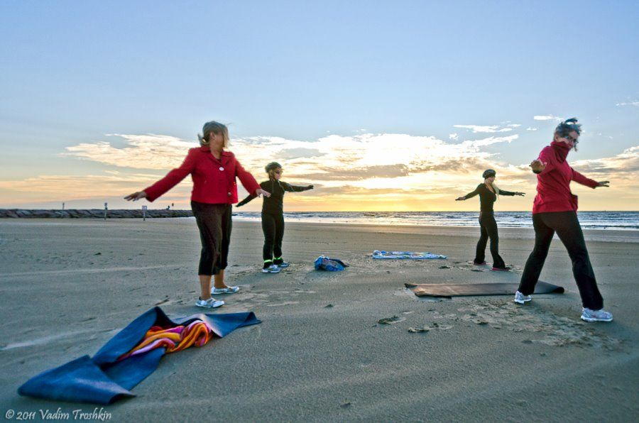 """Get moving early enough?  Good chance you'll see a morning """"Boot Camp"""" on one of the Island's 32 miles of sun-drenched beaches!"""