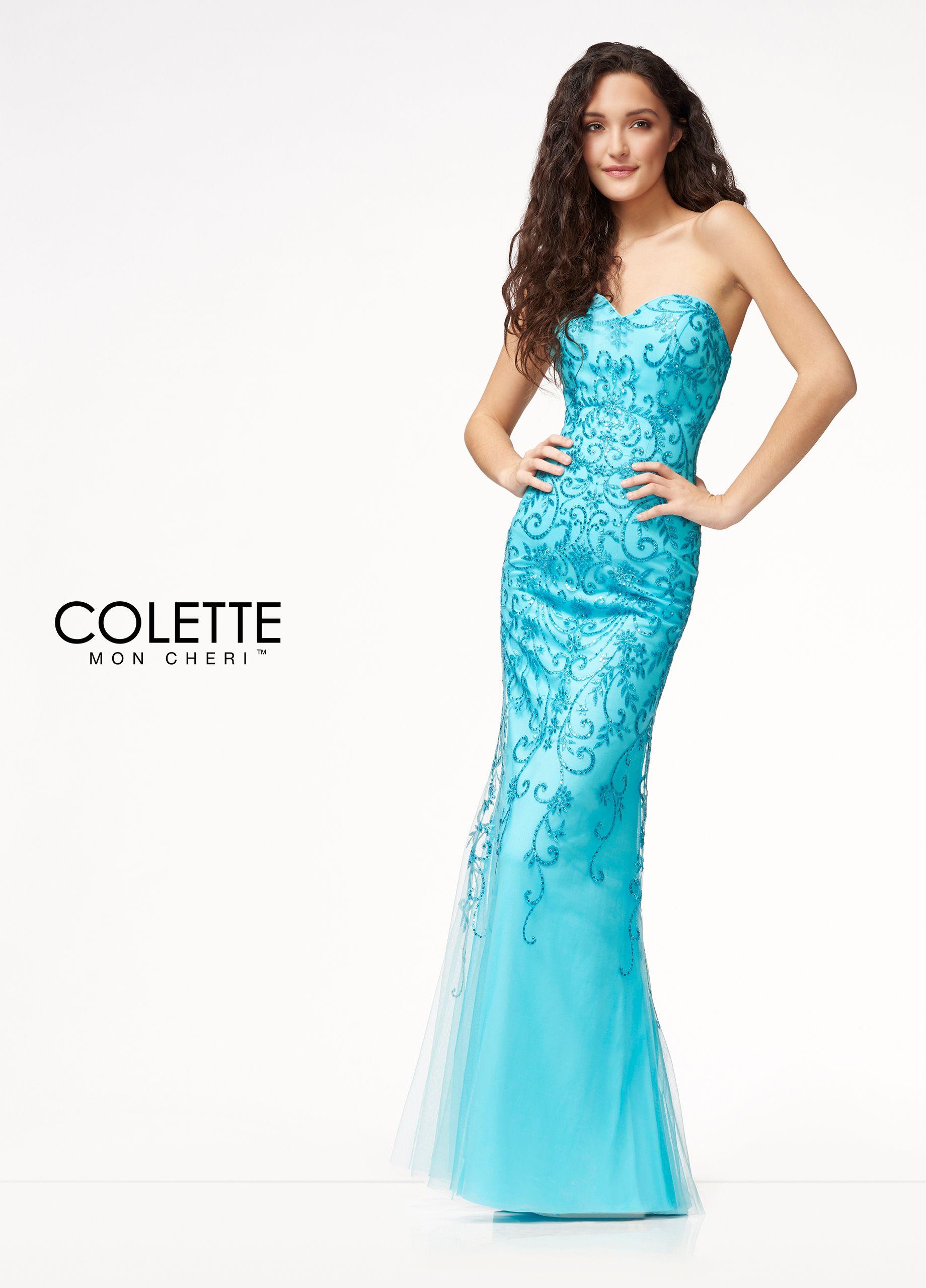 Feminine Strapless Sequin Formal Dress - Colette for Mon Cheri ...