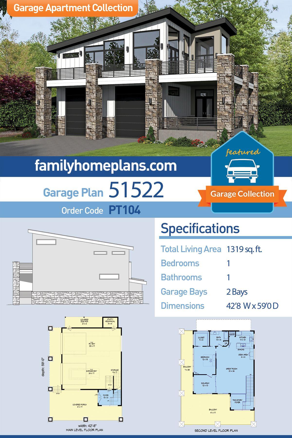 Modern Style Garage Living Plan 51522 With 1 Bed 1 Bath 2 Car Garage Garage Apartment Plan Garage Apartments Garage Plans