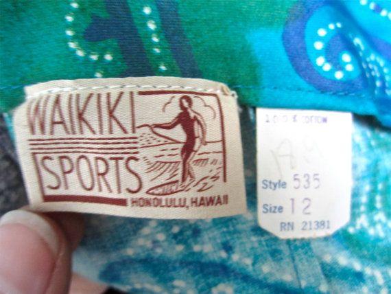 SOLD: Sz.S, 50s Pake Muu Blues Greens Tiki Maxi Dress By Waikiki Sports, Honolulu Hawaii. $78.00, via Etsy.