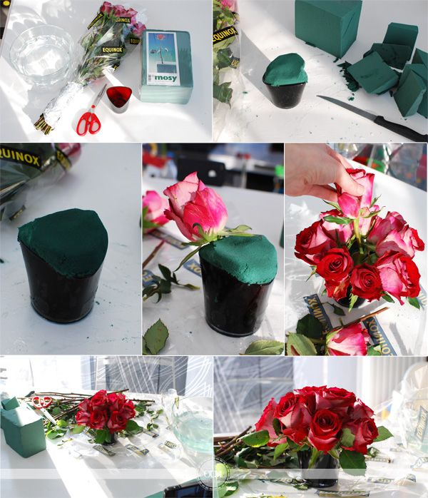 Diy un centre de table avec des roses centres de table centre et table - Composition florale a faire soi meme ...