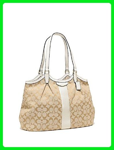 0610143680 Coach Devin Signature Stripe Women s Tote Handbag - Light Khaki   Ivory -  Shoulder bags ( Amazon Partner-Link)