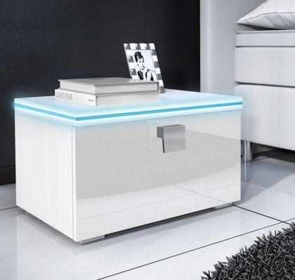 Mesita de noche alicante blanca con led azul mesita de - Mesitas de noche diseno modernas ...