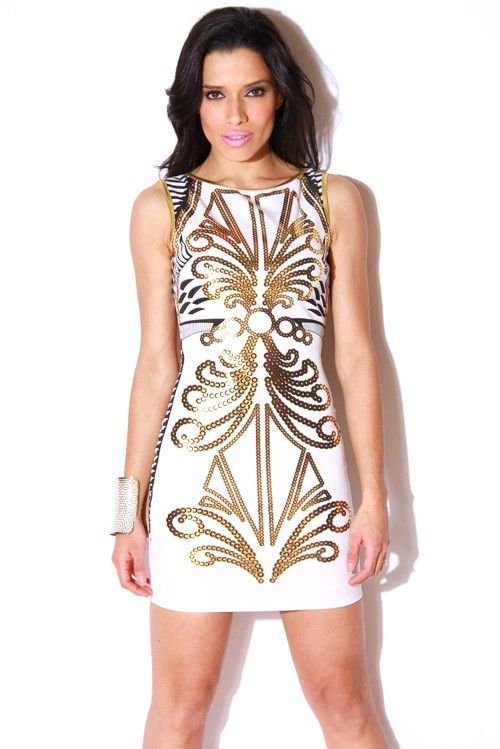 gold fitted dresses | DRESS-brocade print gold and white backless pencil fitted party dress ...