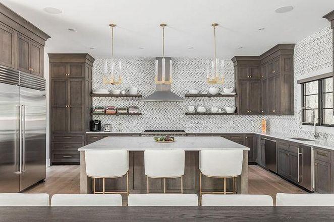 Cabinet color, floor color. Not tile   Dark brown kitchen ...