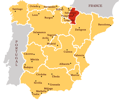 Map Of Spain Navarra.A Map Of Spain In Red Is Where The Basque Province Of Navarra Is