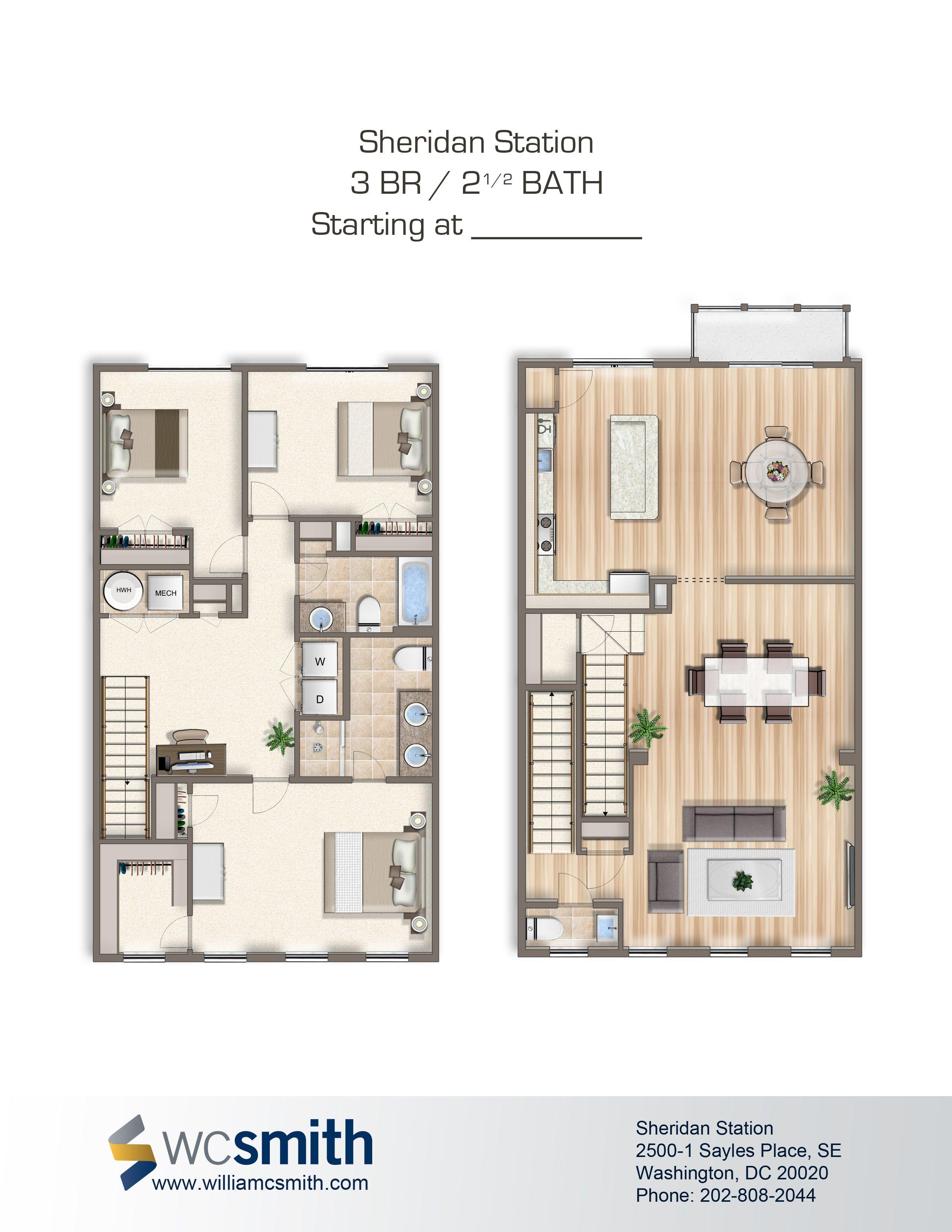 3 Bedroom 2 Bathroom Floor Plan | Sheridan Station In Southeast Washington  DC | WC Smith