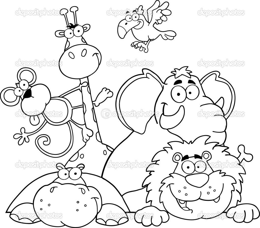 Safari coloring page outlined jungle animals stock for Safari animal coloring pages