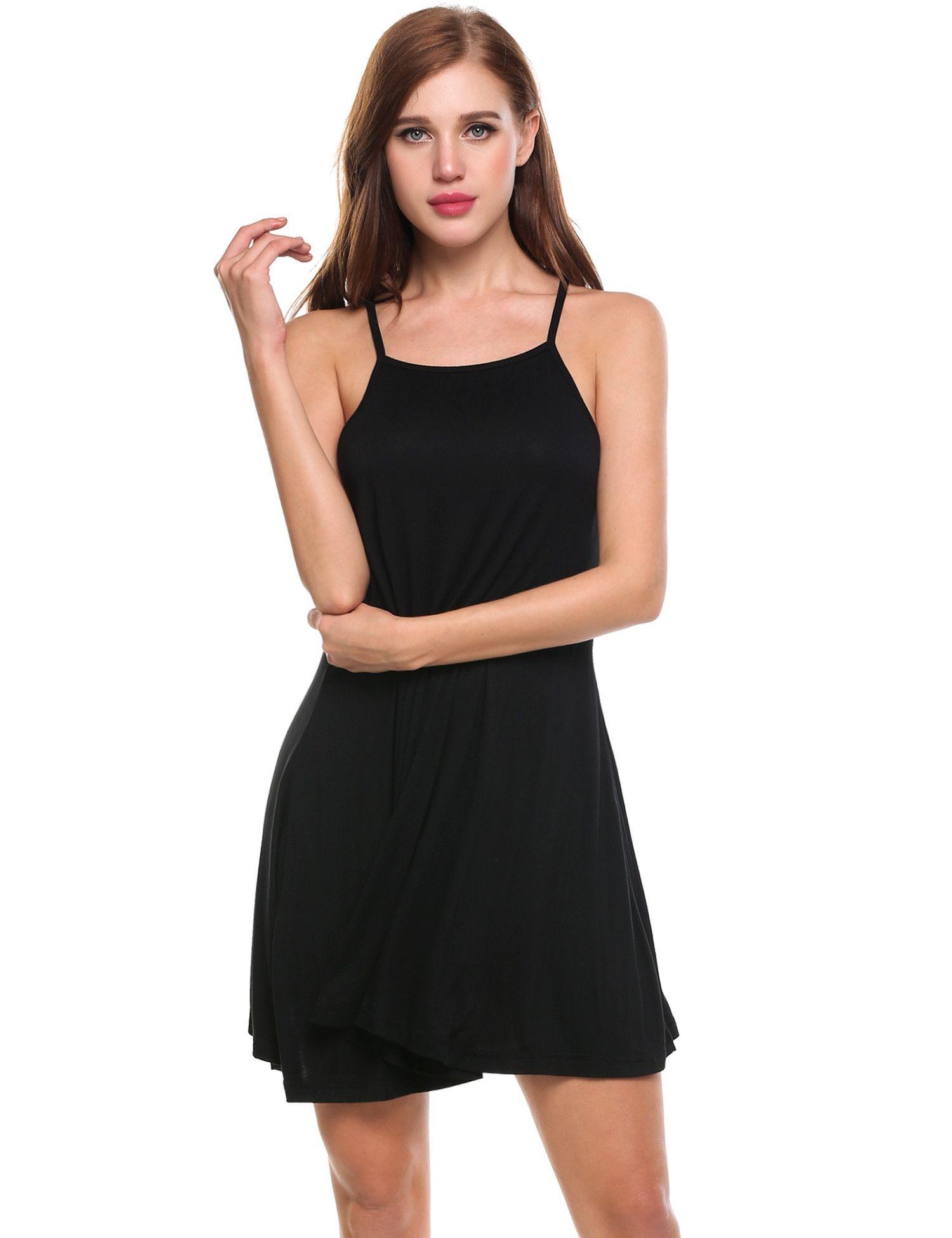 Black Square Collar Solid Back V Neck Cross Strap Pleated Hem Casual Dress