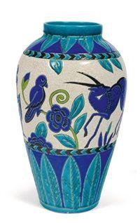 Vase à décor polychrome de cervidés, doiseaux et de motifs végétaux collab. wMaurice Dufrène for La Maîtrise by Charles Catteau
