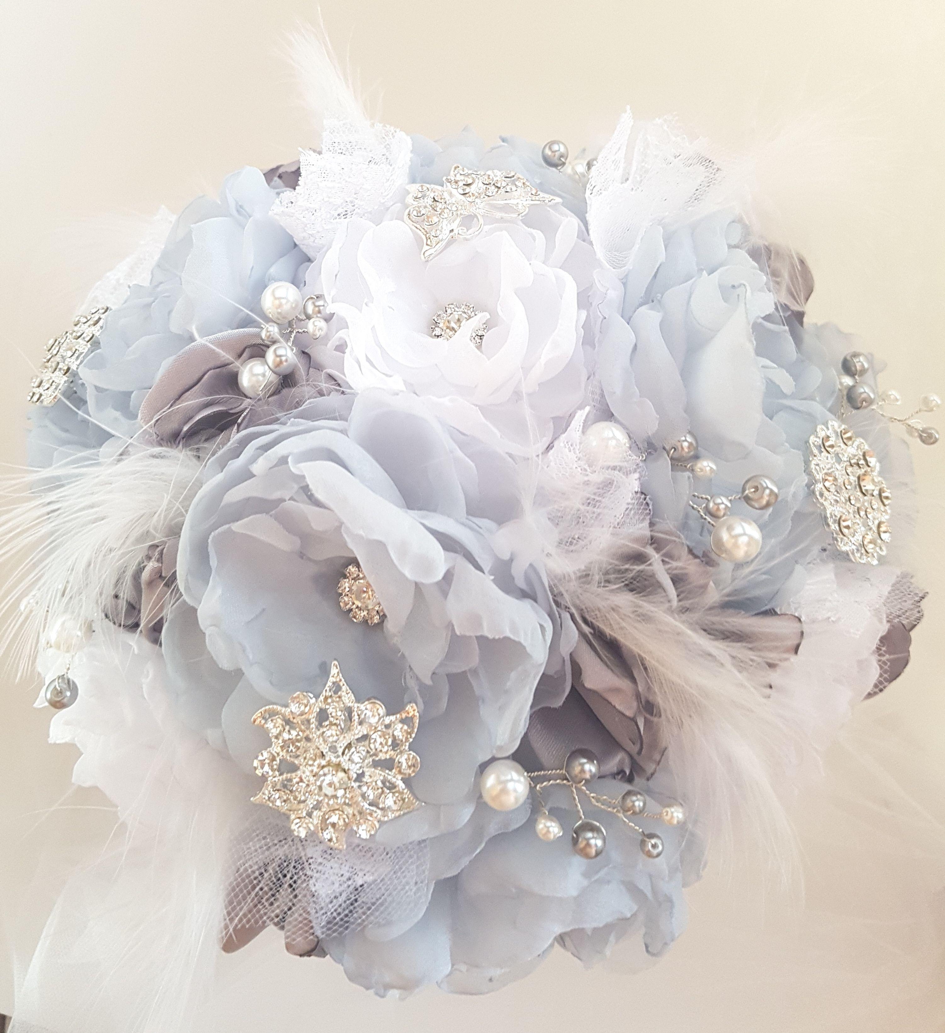 Something blue bridal brooch bouquet wedding bouquet fabric flower something blue bridal brooch bouquet wedding bouquet fabric flower bouquet soft blue grey izmirmasajfo