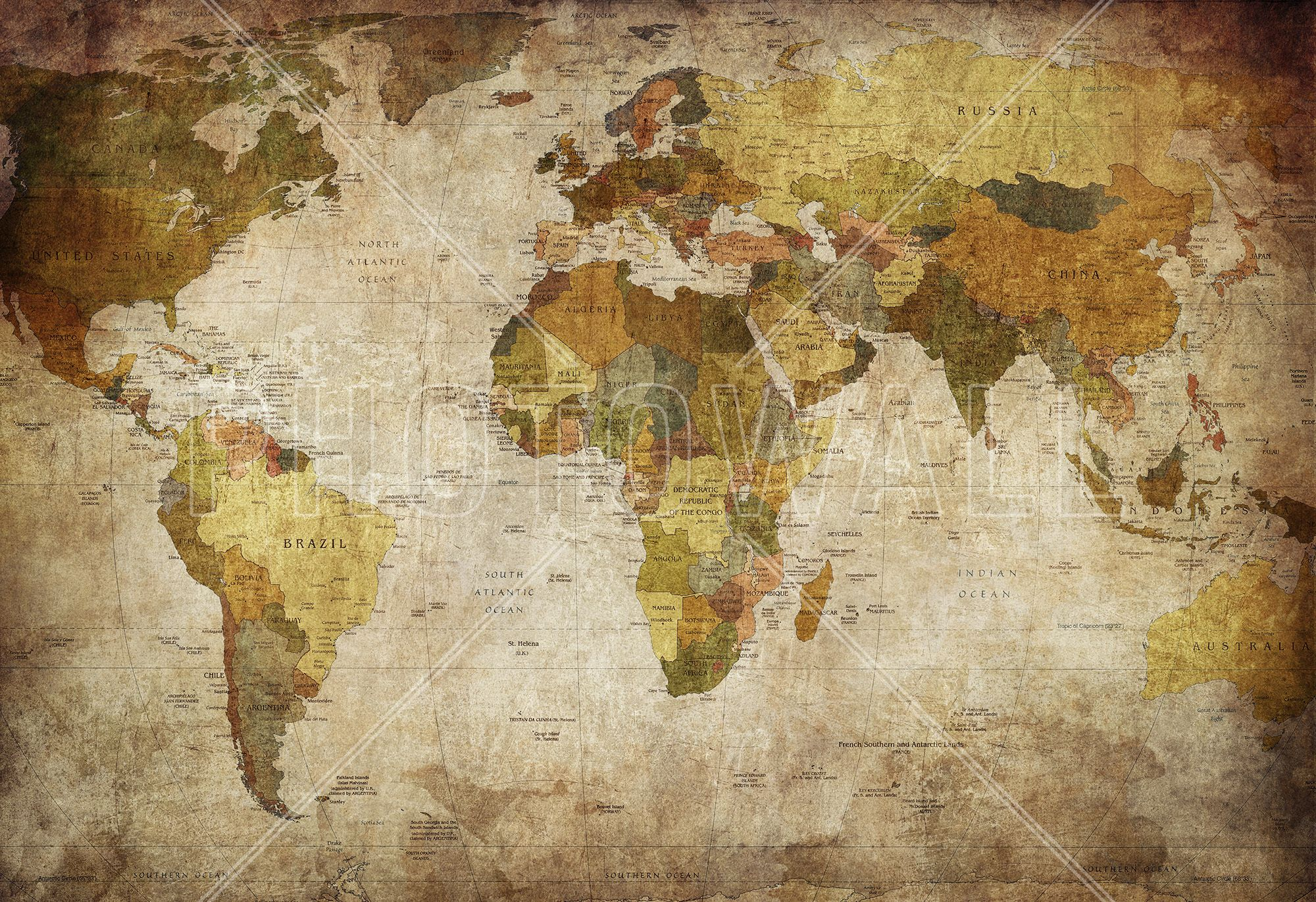 Old vintage world map decoration murale papier peint photo old vintage world map wall mural photo wallpaper photowall gumiabroncs Gallery
