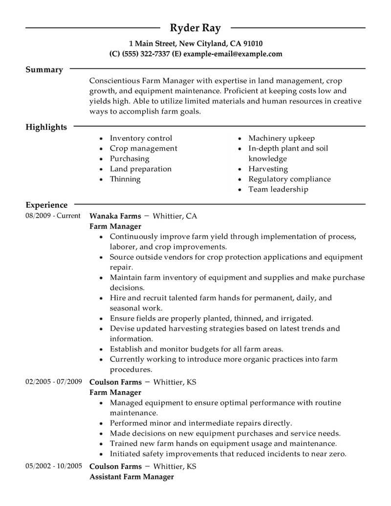Do You Have The Tools You Need To Get An Agriculture And Environment Job Check Out Our Farmer Resume Example To Le Resume Examples Resume Resume No Experience