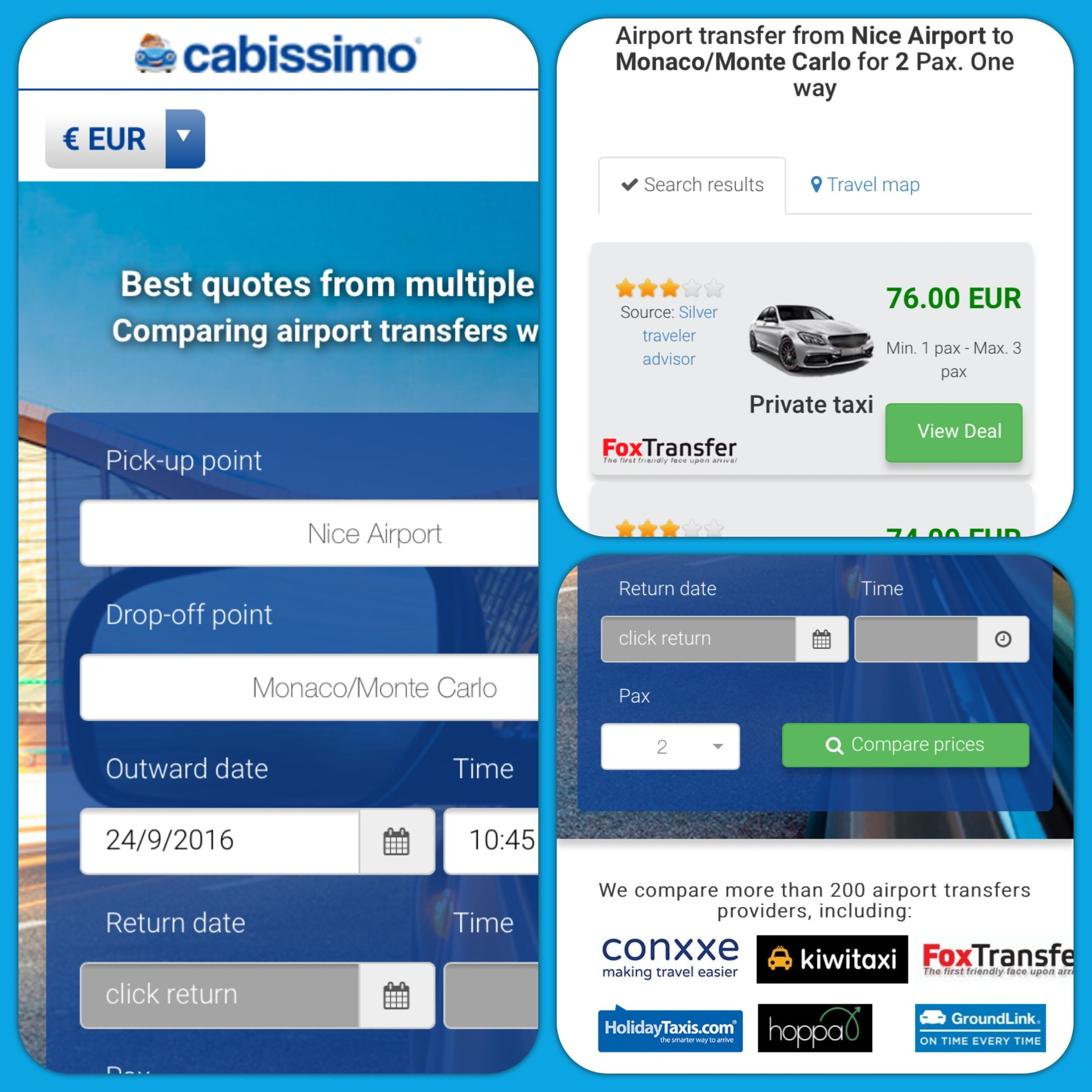 Big changes and new features in #cabissimo! New page design, new search engine with real time results...and now you can show prices in EUR, USD and GBP Take a look at our website: https://www.cabissimo.com