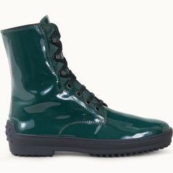 Tod's – Botines de invierno Gommino en charol, verde, 35 – Zapatos Tod's