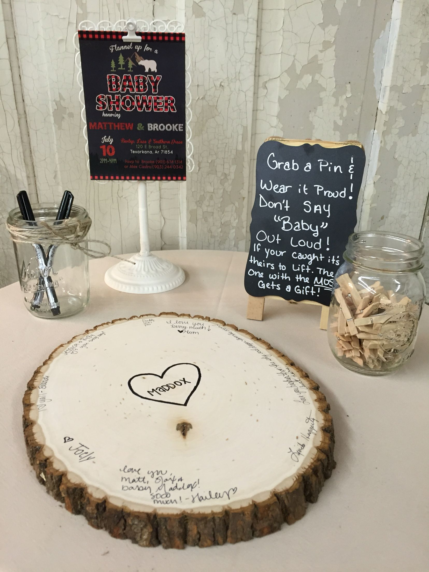 I Like The Wood Piece Guest Book Idea Baby Shower Ideas In 2019