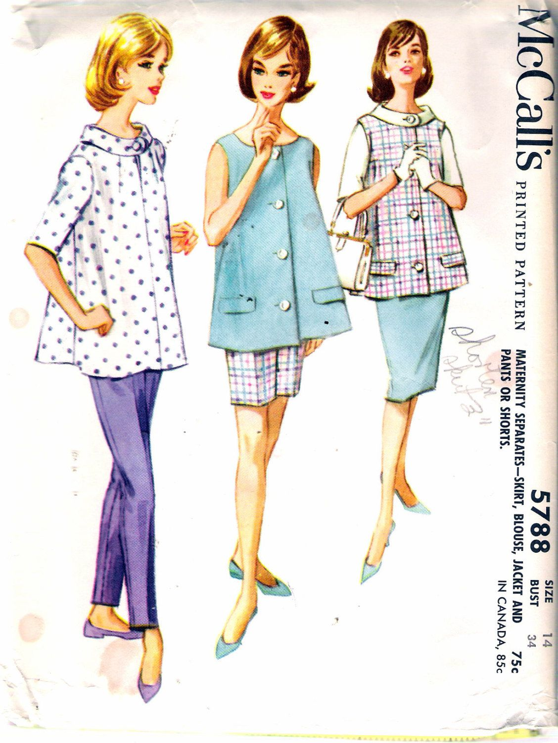 Vintage 1961 McCall\'s 5788 Maternity Separates, Skirt, Blouse ...