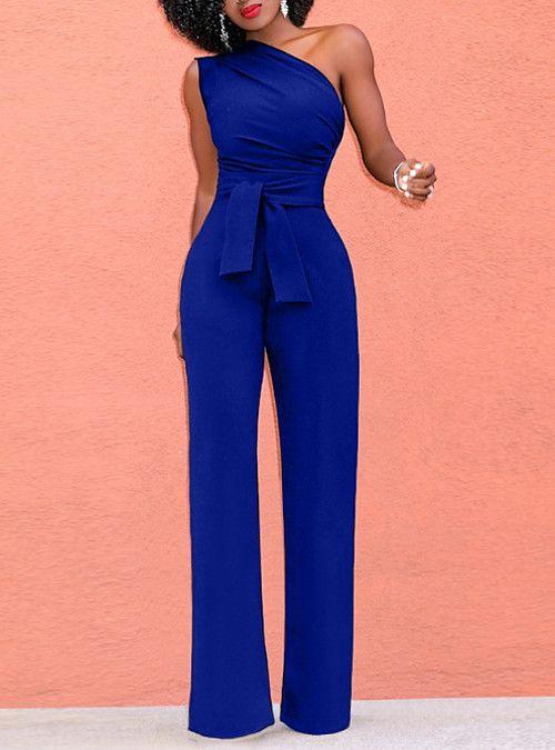 Photo of Damen Rotgelb Wein Jumpsuit, solide schulterfrei / breites Bein M L XL Baumwolle …