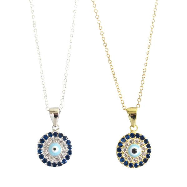What a beauty! TEvil eye pendant necklace with dark blue stones and cubic zirconia. | Find diamond necklaces at Tangerine Jewelry Shop