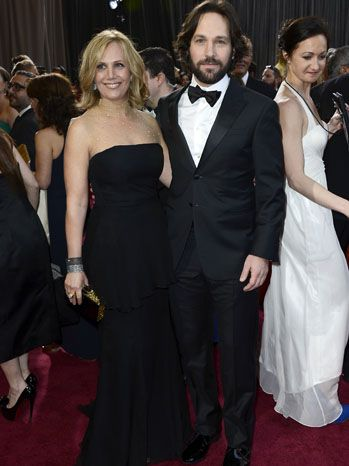 Paul Rudd and Julie Yeager  Paul Rudd and wife Julie Yeager turn heads -- he in a Giorgio Armani tuxedo and she in a strapless black gown.