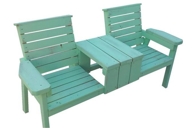 Rustic 2 Seat Wood Bench With Middle Table Outdoor