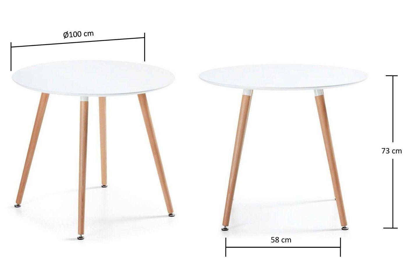 Tavolo Design Bianco.Doze R Rotondo Tavolo Fisso Diam 100 Cm Tavolo In Legno