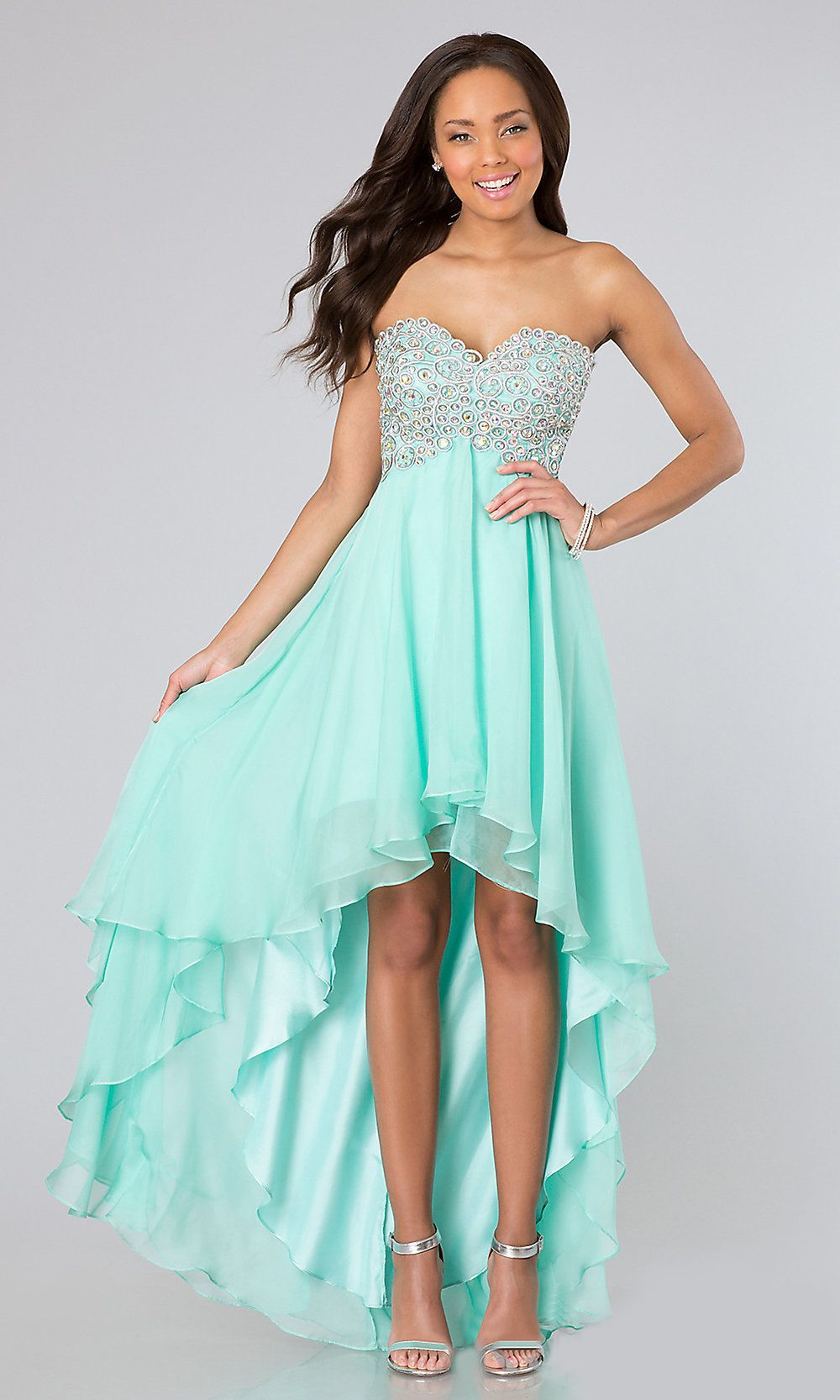 High Low Mint Green Chiffon Homecoming Dress Sweetheart Strapless (4 ...