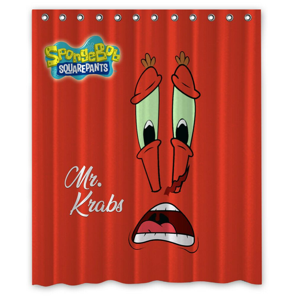 Mr Krabs Face Custom Shower Curtain Size 60x72 And 66x72