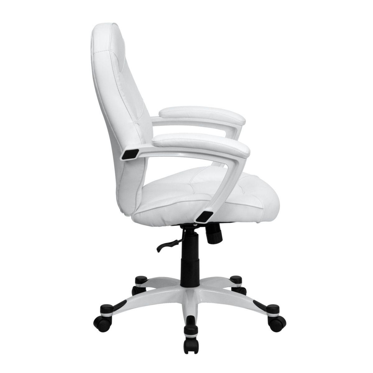 Best Flash Furniture Mid Back White Leather Executive Swivel 400 x 300