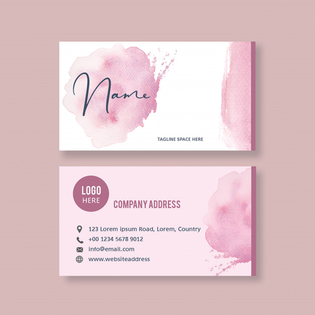 Download Business Card Template With Watercolor Brustrokes For Free In 2020 Free Business Card Templates Business Cards Creative Vector Business Card