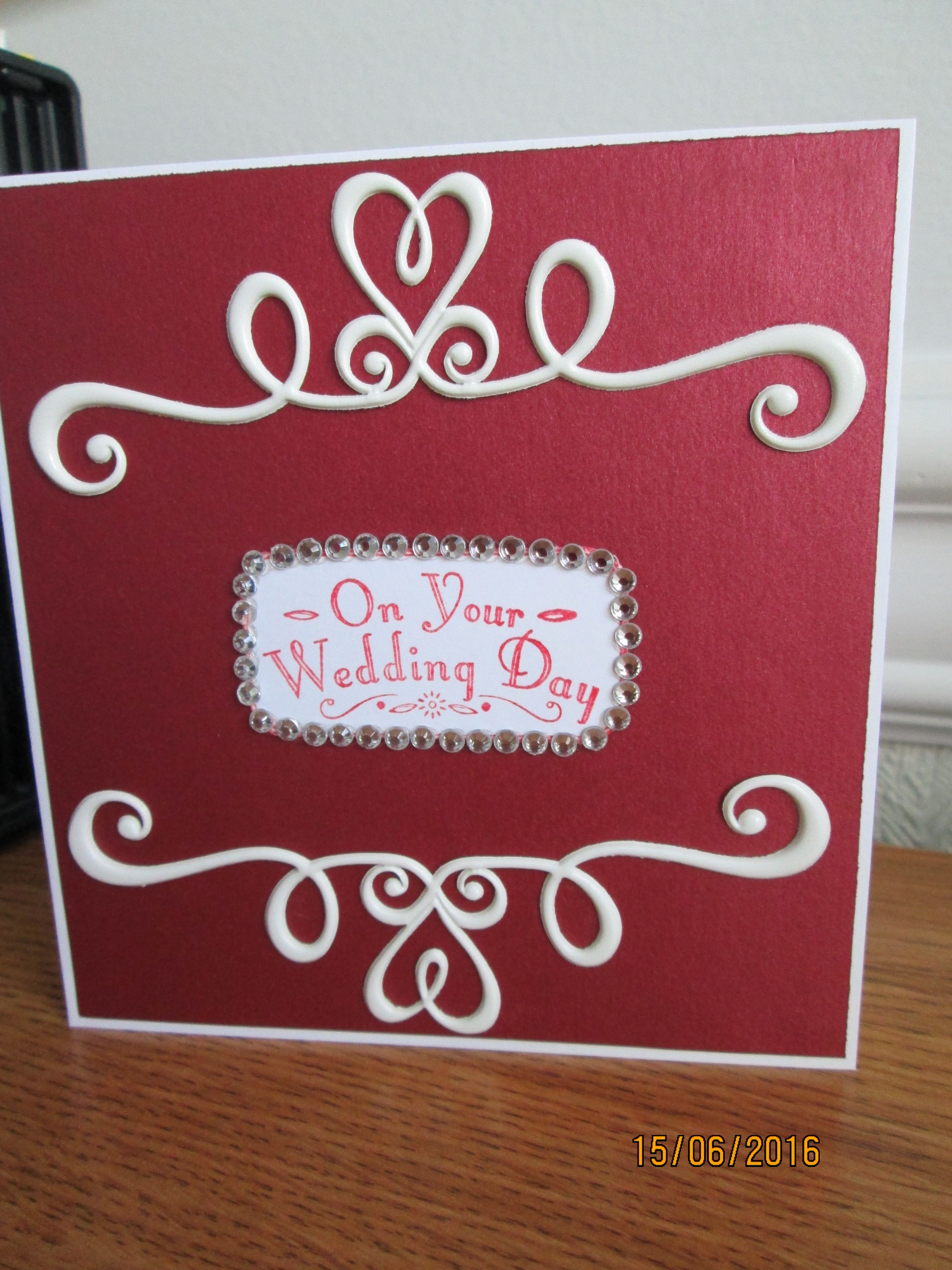 A wedding card in red   Hand Made Cards   Pinterest   Wedding card ...