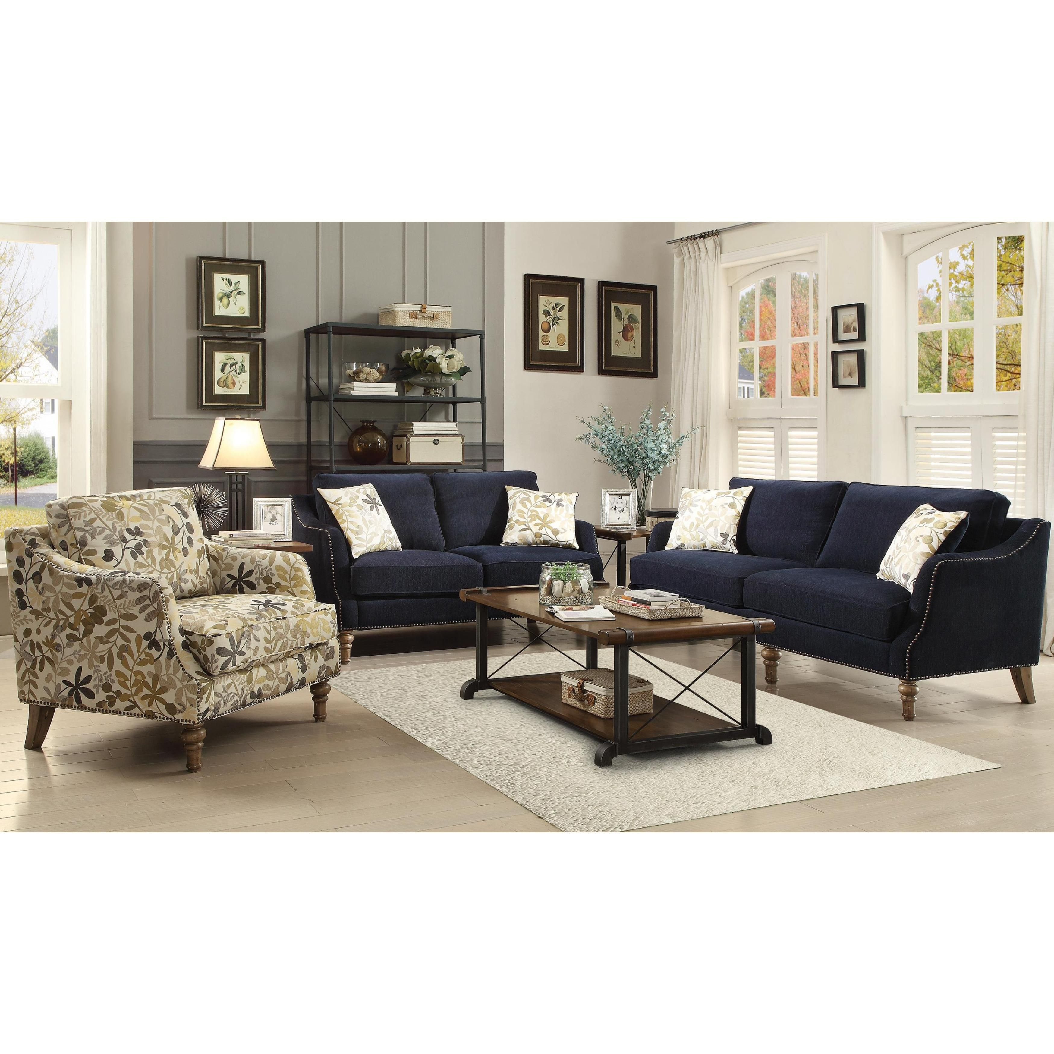 Deep Ink Blue Chenille Fabric upholstery with Nailhead Trim Living