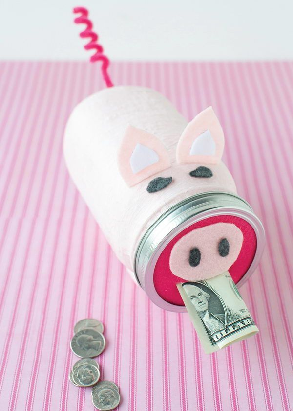 15 Piggy Banks Crafts For Your Kids To Have Fun While Saving Money Mason Jar Diy Mason Jar Crafts Piggy Bank Craft