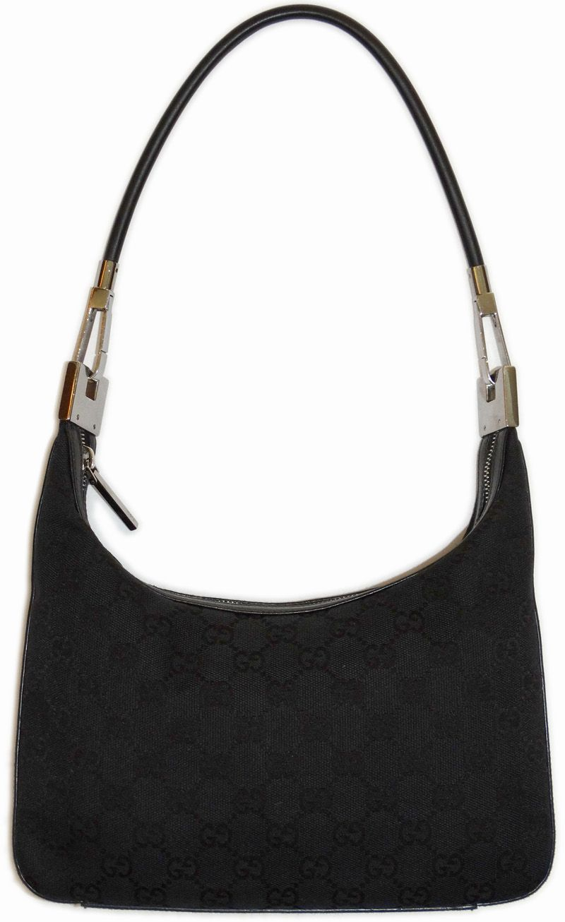 Gucci Designer Handbags Loop Shoulder Bag Black GG Monogram Purse ...