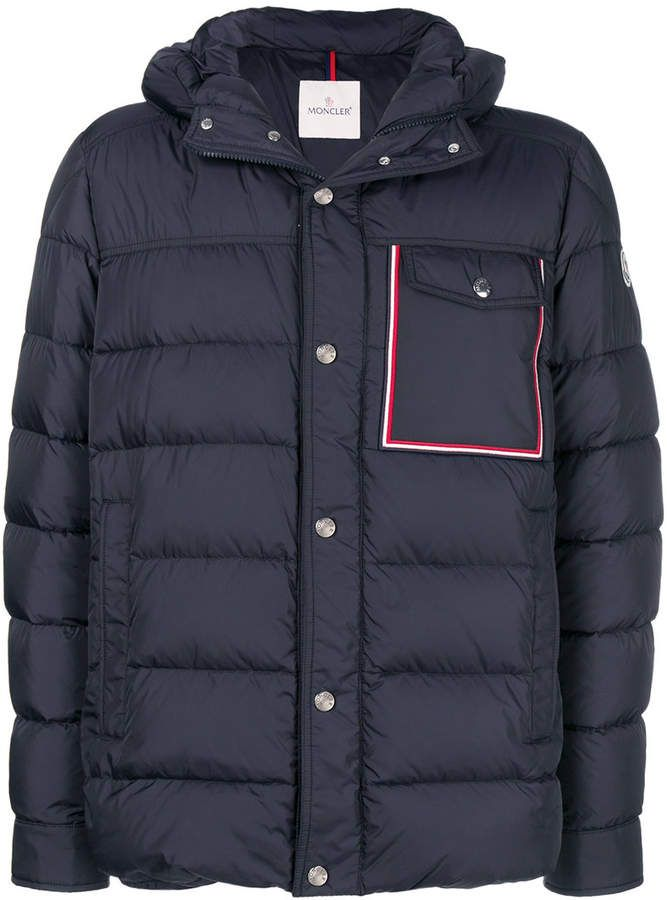 6de39de30 Moncler tri-colour trim padded jacket