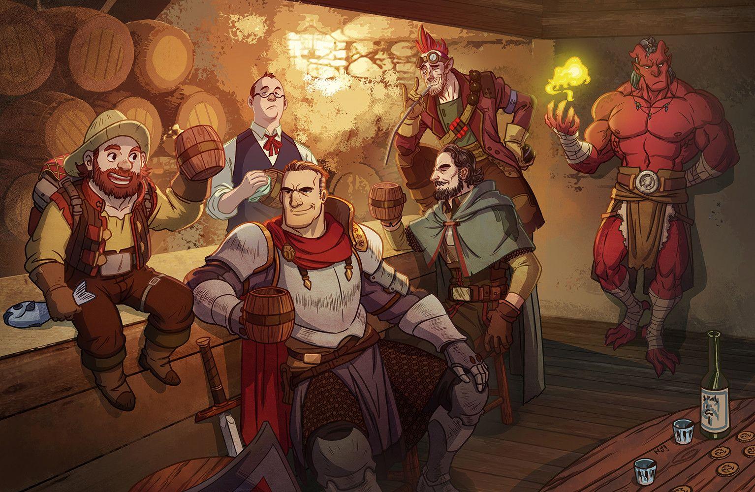 DnD group, Mohd Nizam Jamil on ArtStation at  https://www.artstation.com/artwork/bL21E | Fantasy character design,  Character design, Fantasy art