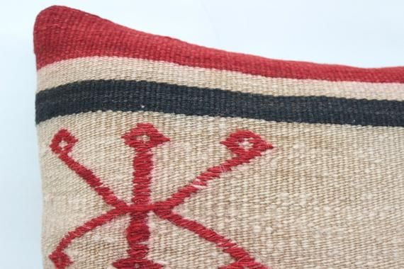 Turkish Kilim Pillow, 14x14 Nomadic Pillow, Patterned Pillow,Small Throw Pillows, Cushion Cover,Red