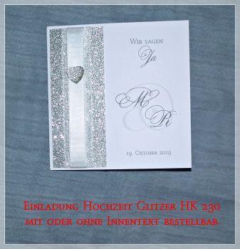 CreativDS   Einladung Hochzeit Quadratisch Glitzer Weiß HK 230