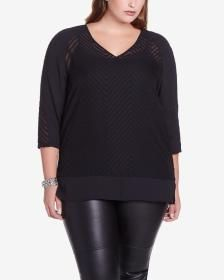 Plus Size 3/4 Sleeve Sheer Blouse