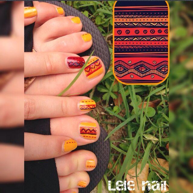Tribal Nail yellow and red! #nails #lelenail