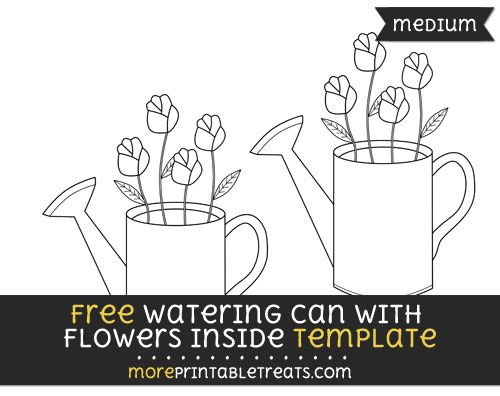free watering can with flowers inside template medium shapes and