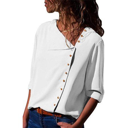 Fashion Long Sleeve Women Blouse Skew Collar Solid